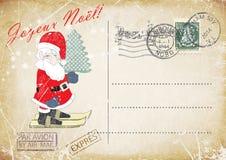 Main grunge de carte postale de vintage français dessinant le ski nain gai, saluant le Joyeux Noël Illustration Photos libres de droits
