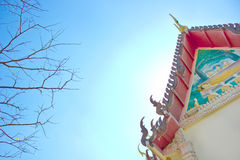 The main hall of Buddhism in Thai temple and branch tree and blue sky Royalty Free Stock Image