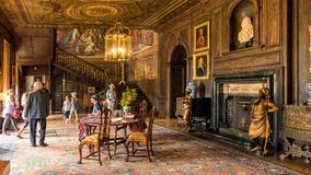 The Main Hall, Hanbury Hall, Worcestershire. Visitors entering the main or grand entrance hall at Hanbury Hall Stock Photography