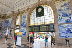 Main hall of Sao Bento Railway Station in Porto city, Portugal Royalty Free Stock Images