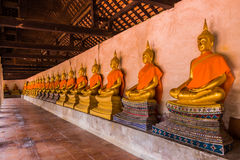 The main hall of Wat Putthaisawan with golden Buddha statue Royalty Free Stock Photography