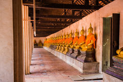 The main hall of Wat Putthaisawan with golden Buddha statue Stock Images