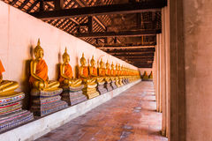 The main hall of Wat Putthaisawan with golden Buddha statue Stock Photo