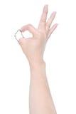 Main handicapée avec la ligne essai de tiret pour montrer le signe CORRECT d'isolement sur le wh Photo stock