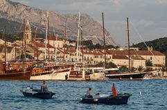 Main harbour, Makarska, Croatia royalty free stock photography