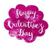 Main heureuse de jour de valentines dessinant Pen Brush Lettering Photo libre de droits