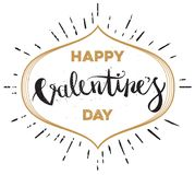 Main heureuse de jour de valentines dessinant Pen Brush Lettering Images stock