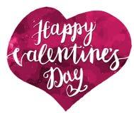 Main heureuse de jour de valentines dessinant Pen Brush Lettering Photos stock