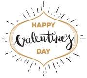 Main heureuse de jour de valentines dessinant Pen Brush Lettering Vecteur Photo libre de droits