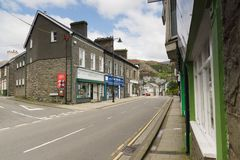 Blaenau Ffestiniog Wales. The main high street in the Welsh mining town of Blaenau Ffestiniog famous for its slate mines and situated in the centre of the stock image