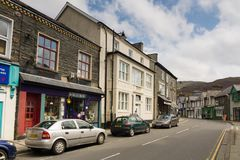 Blaenau Ffestiniog Wales. The main high street in the Welsh mining town of Blaenau Ffestiniog famous for it`s slate mines and situated in the centre of the royalty free stock image