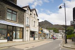 Blaenau Ffestiniog Wales. The main high street in the Welsh mining town of Blaenau Ffestiniog famous for it`s slate mines and situated in the centre of the royalty free stock photography