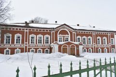 The main house with facade decorated in eclectic style — one of the oldest stone houses Kostroma. The main house from the facade decoration in eclectic Stock Photo