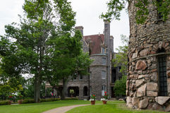 Main House On Heart Island. Entrance to the mansion on Heart Island, Alexandria Bay, New York. To the right, the structure that looks like a castle tower is a Stock Photos