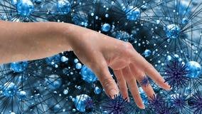 Main humaine contre des cellules d'infection de bactéries clips vidéos