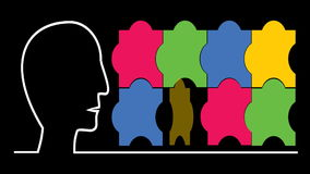 Main idea business intro video with human head, puzzle, pulsing brain. Multicolored puzzle elements. Hdd video stock footage