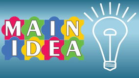 Main idea business intro video with puzzle, pulsing bulb. Multicolored puzzle elements, white outline bulb flickering stock video