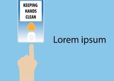 Main indiquant le distributeur de savon de lavage Ep10 illustration libre de droits