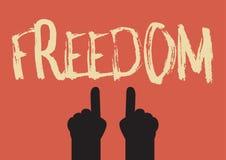 Main indiquant le mot de liberté Ep10 illustration libre de droits