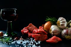 The main ingredients for a beef goulash appealingly prepared stock image