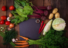 The main ingredients - vegetables for cooking borsch (beetroot, cabbage, carrots, potatoes, tomatoes). Stock Images