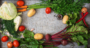 The main ingredients - vegetables for cooking borsch (beetroot, cabbage, carrots, potatoes, tomatoes). Royalty Free Stock Photography