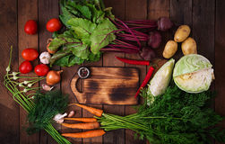 The main ingredients - vegetables for cooking borsch beetroot, cabbage, carrots, potatoes, tomatoes. Royalty Free Stock Photos