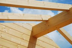 Main Interior Beam, Partial Constructed Wood House Royalty Free Stock Images