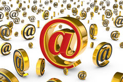 The main internet address (@). A single red & golden email symbo Stock Images