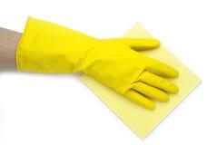 Main jaune Photo libre de droits