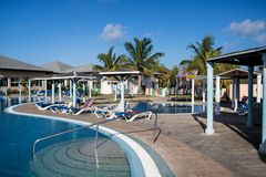 Main And Kids Pool At Playa Paraiso Resort In Cayo Coco, Cuba. The main pool area at the Hotel Playa Paraiso Resort in Cayo Coco, Cuba. The all-inclusive beach stock photo