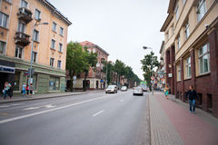 The main Klaipeda city street - H.Mantas street Royalty Free Stock Image
