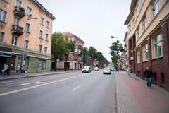 The main Klaipeda city street - H.Mantas street. KLAIPEDA, LITHUANIA - JUL 30: The main Klaipeda city street - H.Mantas street on July 30, 2013 Klaipeda Royalty Free Stock Image