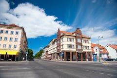 The main Klaipeda city street. KLAIPEDA, LITHUANIA - JUNE 1: The main Klaipeda city street - H.Mantas street on June 1, 2014 Klaipeda, Lithuania. Klaipeda is the Stock Photos