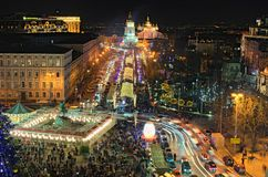 Main Kyiv`s New Year tree and Christmas market on St. Sophia Square. Open air cafes, children`s attractions and souvenir kiosks. KYIV KIEV, Ukraine-JANUARY 08 Royalty Free Stock Photos
