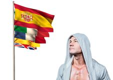 main language flags near man with jumper Stock Photography
