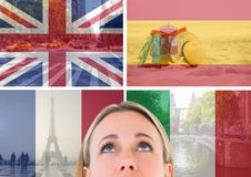 Main language flags with opacity superimposed with country images around foreground of woman looking Royalty Free Stock Images