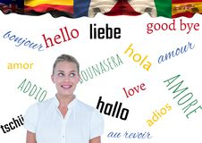 main language flags over young businesswoman royalty free stock images