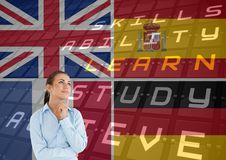 Main language flags overlap with airport deliveries around woman thinking Royalty Free Stock Photos