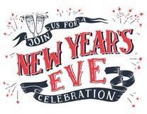 Main-lettrage de célébration du ` s Ève de nouvelle année illustration stock