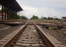 Main line train track switches and yard Royalty Free Stock Photo