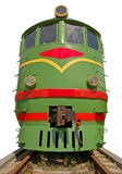 Main locomotove. The front of old Soviet main locomotive isolated over white with clipping path Royalty Free Stock Photos