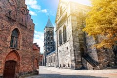 The main Lutheran Gothic temple in Lund, Sweden, a monument of m. Edieval architecture, a trip to Sweden. Autumn city landscape royalty free stock images