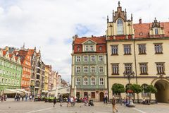 Main market square ,colorful tenement houses, Lower Silesia, Wroclaw, Poland Stock Photo