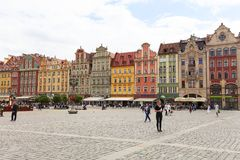Main market square ,colorful tenement houses, Lower Silesia, Wroclaw, Poland Stock Photos