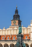 Main Market Square- Cracow, Poland- Mickiewicz monument, Town Hall Tower, Cloth Hall Stock Image