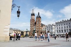 Main market square in front of St. Mary's Basilica, in Krakow,Poland Royalty Free Stock Photography