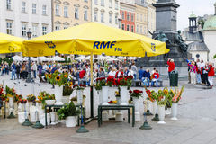 The Main Market Square, Krakow, Poland. Stock Photos