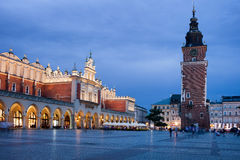 Main Market Square at Night in Krakow Royalty Free Stock Photo