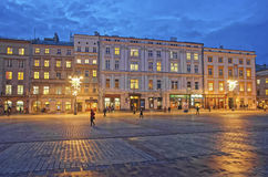 Main Market Square of the Old City in Krakow in Poland at Christ Stock Photo